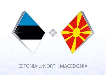 Europe football competition Estonia vs North Macedonia, League C, Group 2. Vector illustration.