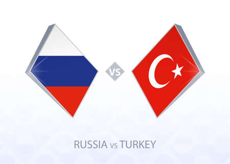 Europe football competition Russia vs Turkey, League B, Group 3. Vector illustration.  イラスト・ベクター素材