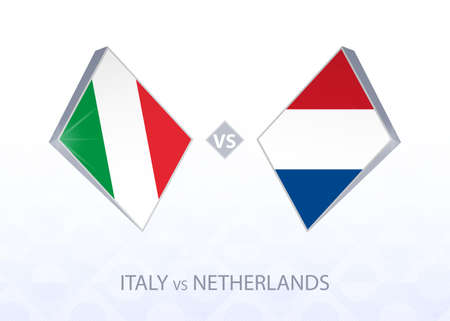 Europe football competition Italy vs Netherlands, League A, Group 1. Vector illustration.