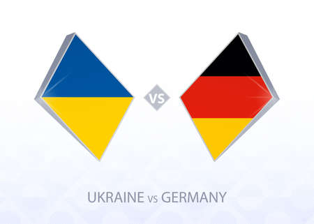 Europe football competition Ukraine vs Germany, League A, Group 4. Vector illustration.  イラスト・ベクター素材