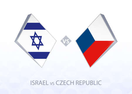 Europe football competition Israel vs Czech Republic, League B, Group 2. Vector illustration.
