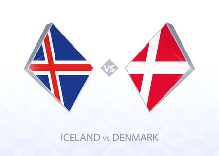 Europe football competition Iceland vs Denmark, League A, Group 2. Vector illustration.