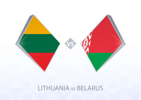Europe football competition Lithuania vs Belarus, League C, Group 4. Vector illustration.