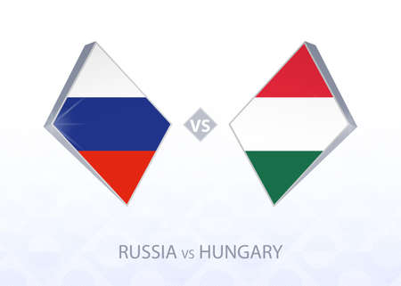 Europe football competition Russia vs Hungary, League B, Group 3. Vector illustration.