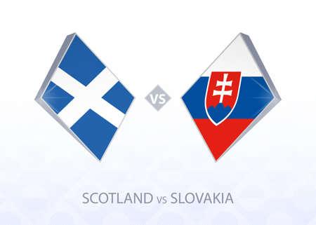 Europe football competition Scotland vs Slovakia, League B, Group 2. Vector illustration.  イラスト・ベクター素材