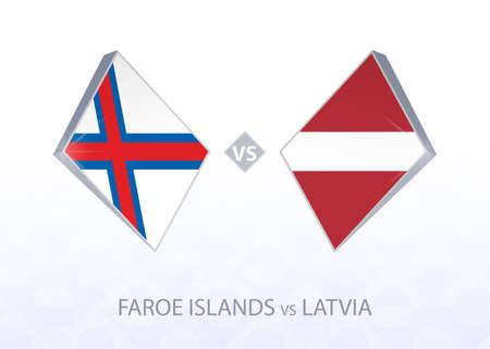 Europe football competition Faroe Islands vs Latvia, League D, Group 1. Vector illustration.  イラスト・ベクター素材