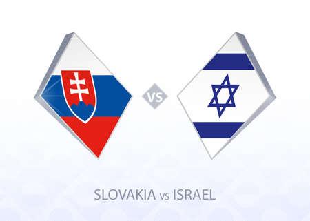 Europe football competition Slovakia vs Israel, League B, Group 2. Vector illustration.  イラスト・ベクター素材