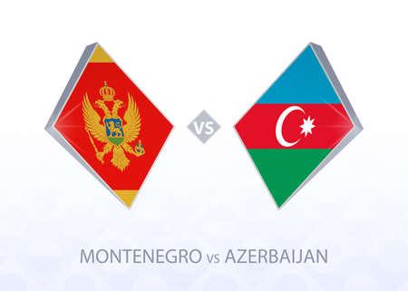 Europe football competition Montenegro vs Azerbaijan, League C, Group 1. Vector illustration.  イラスト・ベクター素材