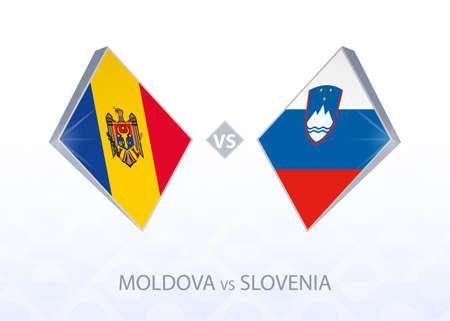 Europe football competition Moldova vs Slovenia, League C, Group 3. Vector illustration.  イラスト・ベクター素材