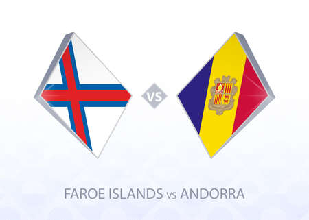 Europe football competition Faroe Islands vs Andorra, League D, Group 1. Vector illustration.  イラスト・ベクター素材