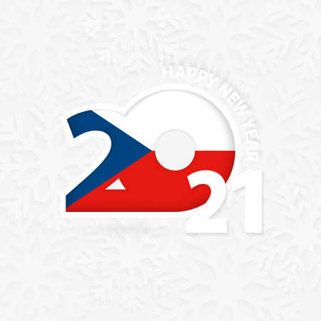 Happy New Year 2021 for Czech Republic on snowflake background. Greeting Czech Republic with new 2021 year.