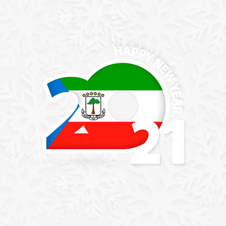 Happy New Year 2021 for Equatorial Guinea on snowflake background. Greeting Equatorial Guinea with new 2021 year.