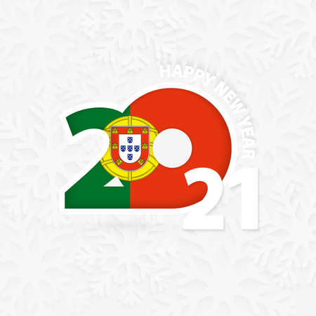 Happy New Year 2021 for Portugal on snowflake background. Greeting Portugal with new 2021 year.