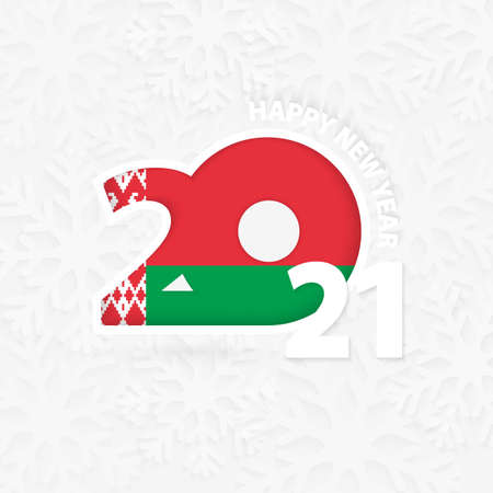 Happy New Year 2021 for Belarus on snowflake background. Greeting Belarus with new 2021 year.