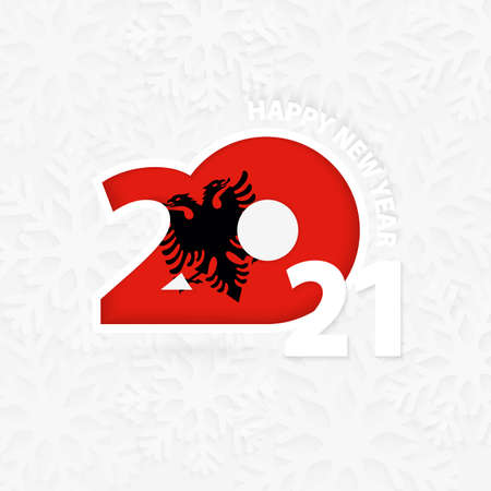 Happy New Year 2021 for Albania on snowflake background. Greeting Albania with new 2021 year.