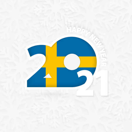 Happy New Year 2021 for Sweden on snowflake background. Greeting Sweden with new 2021 year. 向量圖像