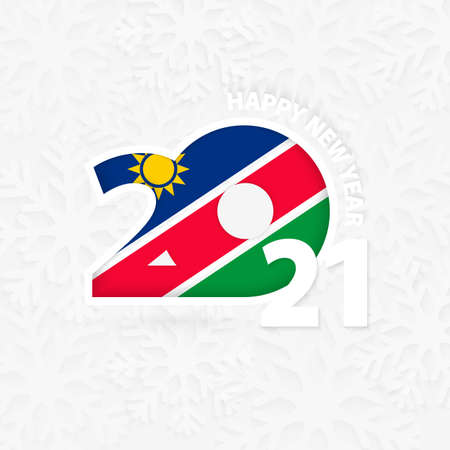 Happy New Year 2021 for Namibia on snowflake background. Greeting Namibia with new 2021 year.
