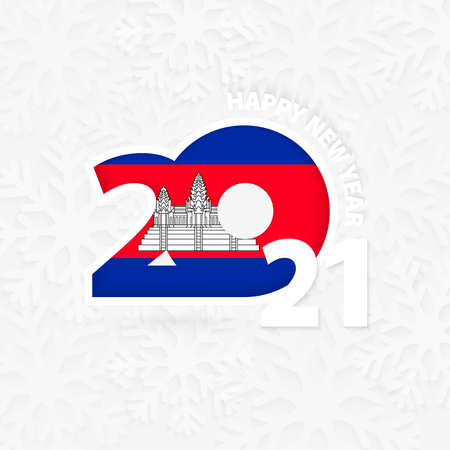 Happy New Year 2021 for Cambodia on snowflake background. Greeting Cambodia with new 2021 year.