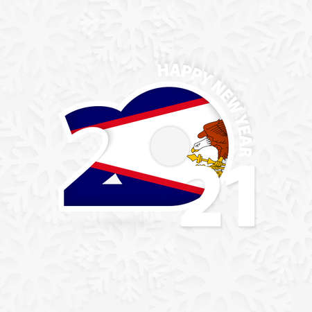 Happy New Year 2021 for American Samoa on snowflake background. Greeting American Samoa with new 2021 year.