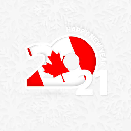 Happy New Year 2021 for Canada on snowflake background. Greeting Canada with new 2021 year.