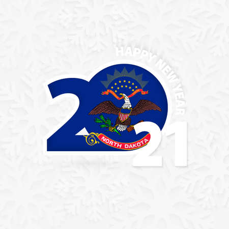 Happy New Year 2021 for North Dakota on snowflake background. Greeting North Dakota with new 2021 year. 矢量图像