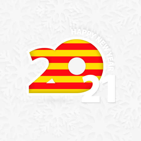 Happy New Year 2021 for Catalonia on snowflake background. Greeting Catalonia with new 2021 year.
