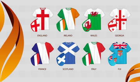 Rugby Jerseys with flag of Autumn Nations Cup participants. Vector illustration. 矢量图像