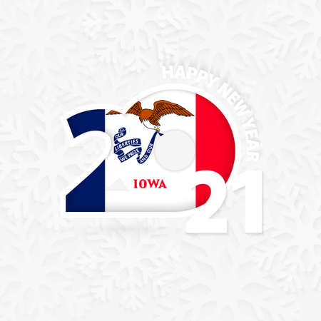 Happy New Year 2021 for Iowa on snowflake background. Greeting Iowa with new 2021 year.