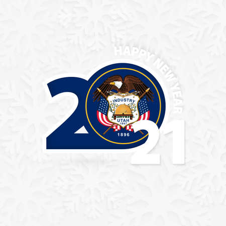 Happy New Year 2021 for Utah on snowflake background. Greeting Utah with new 2021 year.