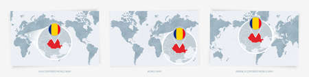 Three versions of the World Map with the enlarged map of Romania with flag. Europe, Asia, and America centered world maps.