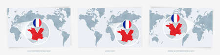 Three versions of the World Map with the enlarged map of France with flag. Europe, Asia, and America centered world maps.