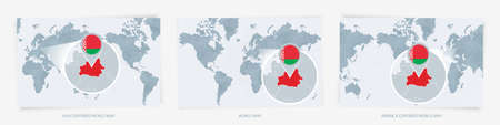 Three versions of the World Map with the enlarged map of Belarus with flag. Europe, Asia, and America centered world maps.