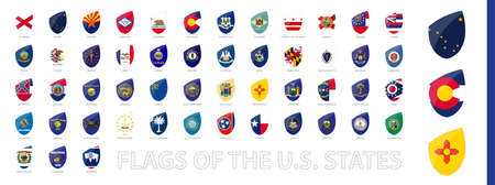 USA State Flags in Rugby Style. Big Rugby icon set with preview flag of Alaska, Colorado, New Mexico.