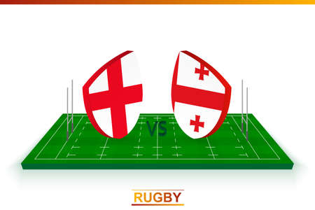 Rugby team England vs Georgia on rugby field. Vector template.