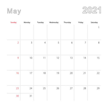 Simple wall calendar for May 2021 with dotted lines. The calendar is in English, week start from Sunday. Vector template.