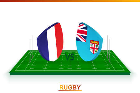 Rugby team France vs Fiji on rugby field. Vector template.