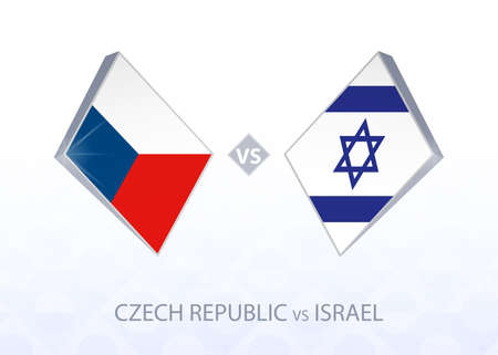 Europe football competition Czech Republic vs Israel, League B, Group 2. Vector illustration. 向量圖像