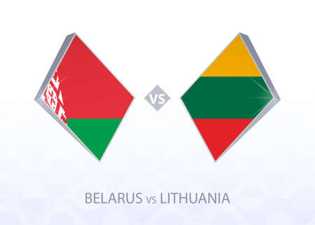 Europe football competition Belarus vs Lithuania, League C, Group 4. Vector illustration. 向量圖像