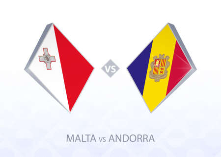 Europe football competition Malta vs Andorra, League D, Group 1. Vector illustration.