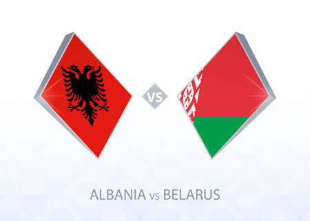 Europe football competition Albania vs Belarus, League C, Group 4. Vector illustration.