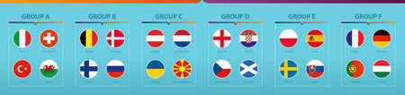 Football tournament flags sorted by group. Vector flag collection. 向量圖像