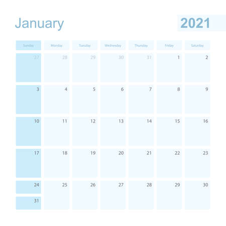 2021 January wall planner in blue color, week starts on Sunday. Calendar for January 2021 with day of previous and next month.
