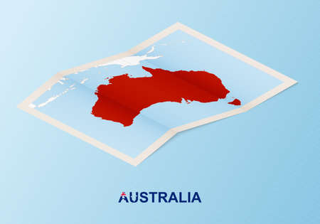 Folded paper map of Australia with neighboring countries in isometric style on blue vector background. Illustration