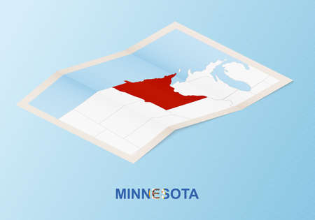 Folded paper map of Minnesota with neighboring countries in isometric style on blue vector background. 矢量图像