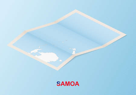 Folded paper map of Samoa with neighboring countries in isometric style on blue vector background.