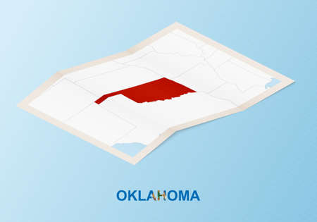 Folded paper map of Oklahoma with neighboring countries in isometric style on blue vector background. Illustration