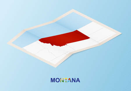 Folded paper map of Montana with neighboring countries in isometric style on blue vector background.