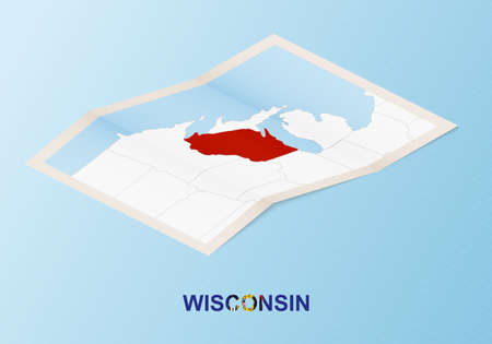 Folded paper map of Wisconsin with neighboring countries in isometric style on blue vector background. Ilustração