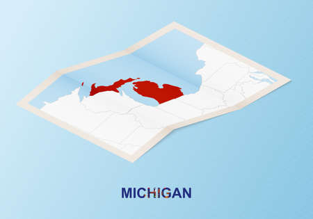 Folded paper map of Michigan with neighboring countries in isometric style on blue vector background.