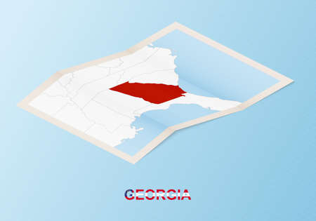 Folded paper map of Georgia with neighboring countries in isometric style on blue vector background. Ilustracja